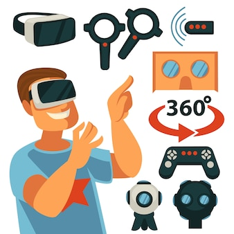 Virtuele realiteit of vr-spelapparaten