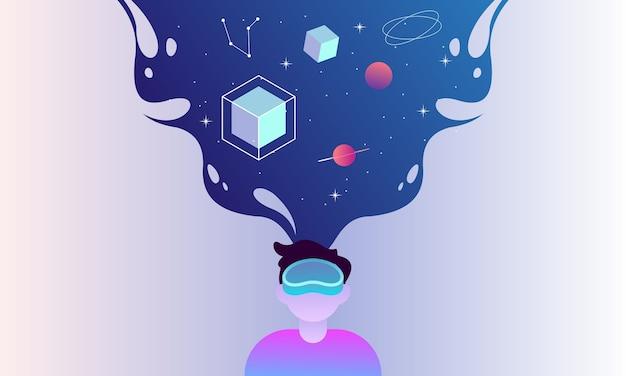 Virtuele realiteit ruimte illustratie concept voor bestemmingspagina sjabloon