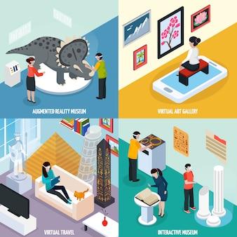Virtuele reisoriëntatiepunten museumcompositie