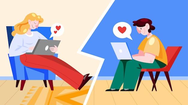 Virtuele relatie en liefdesdialoog. communicatie tussen mensen via netwerk. perfecte match. illustratie