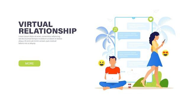 Virtuele relaties. knappe man zit in lotushouding met laptop en chatten met mooie vrouw met telefoon.