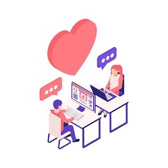 Virtuele relaties online dating isometrische compositie met man en vrouw chatten aan computertafels illustratie