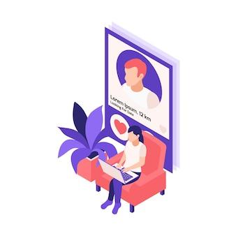 Virtuele relaties online dating isometrische compositie met vrouw die dating-app gebruikt op laptopillustratie