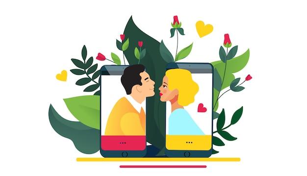 Virtuele relaties, online dating of sociaal netwerken concept. liefde via internet.