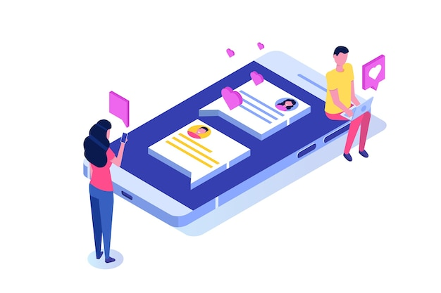 Virtuele relaties, online dating, sociaal netwerkconcept.