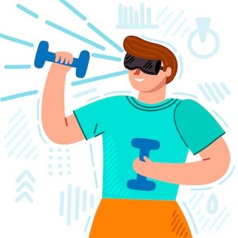 Virtuele sportschool illustratie