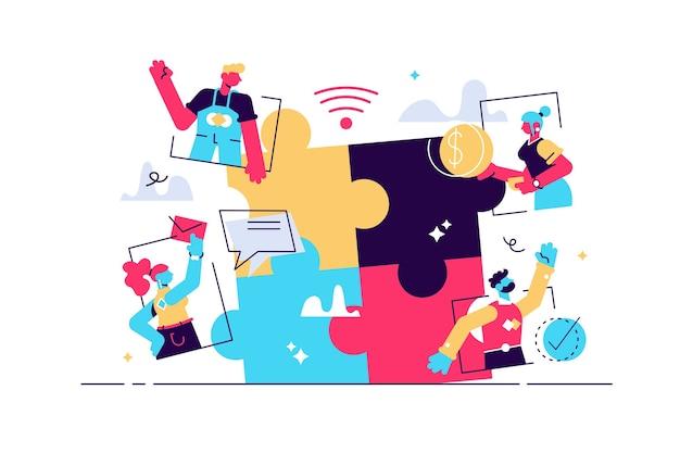 Virtuele teams werken op afstand als puzzeloplossende scène