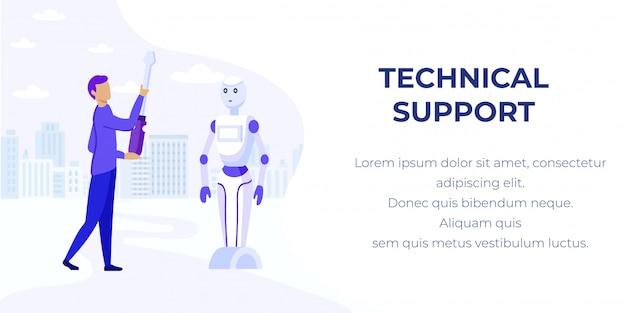 Virtuele technische ondersteuning ai robotic help banner