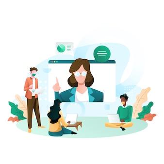 Virtuele telefonische vergadering van een zakelijke groepsbijeenkomst en werk vanuit huis illustratie
