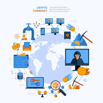 Virtuele valuta ronde samenstelling vlakke stijl