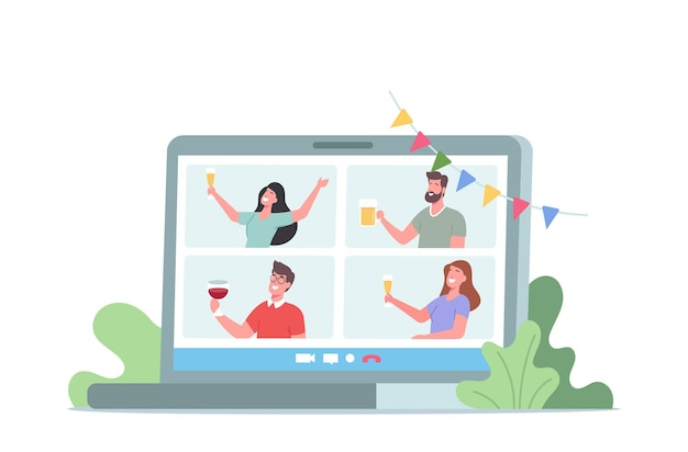 Virtuele verjaardag, online feest, thuisfeest. vriendenkarakters klinken een bril met alcohol van computerschermen