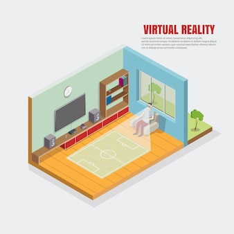 Virtuele voetbalillustratie, voetbalresultaten, de man die in de stoel zit, kijkt door de online vr-sport.