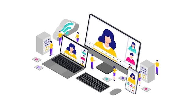 Virtuele webinar met geïntegreerde oplossingen isometrische 3d-vectorillustratie mobile desktop web user interface responsive.