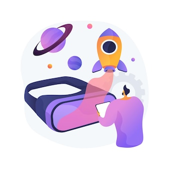 Virtuele wereld ontwikkeling abstracte concept illustratie