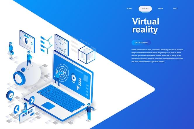 Virtuele werkelijkheid moderne platte ontwerp isometrische concept.