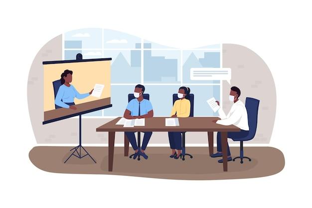 Virtuele zakelijke bijeenkomst tijdens pandemie 2d