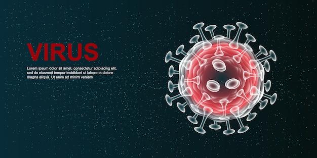 Virus. abstracte 3d microbe op blauwe achtergrond.