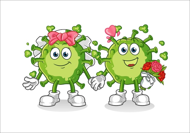 Virus bruiloft cartoon