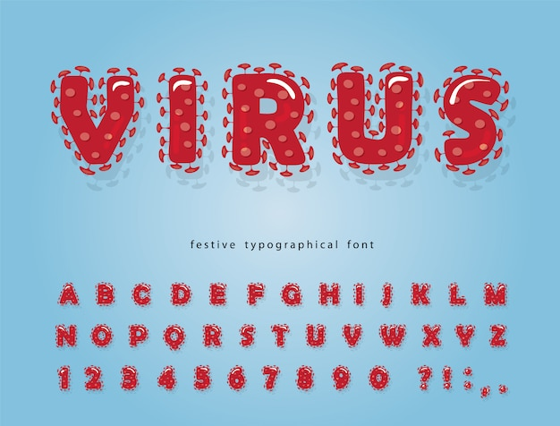 Virus cartoon lettertype. coronavirus rood alfabet.