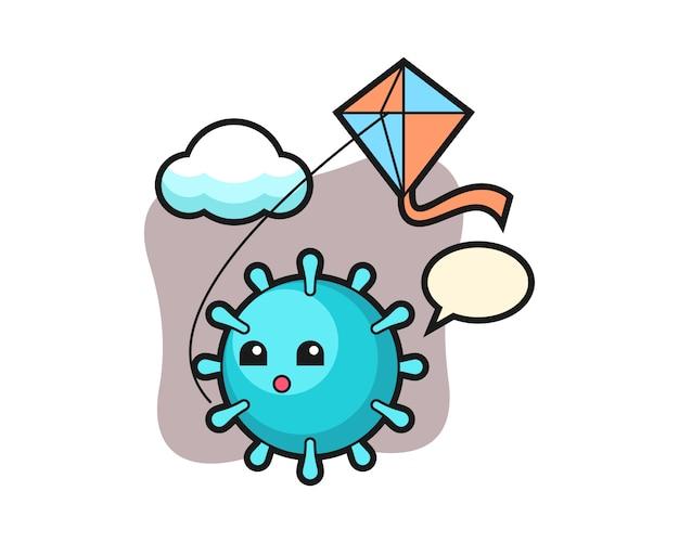 Virus cartoon speelt kite