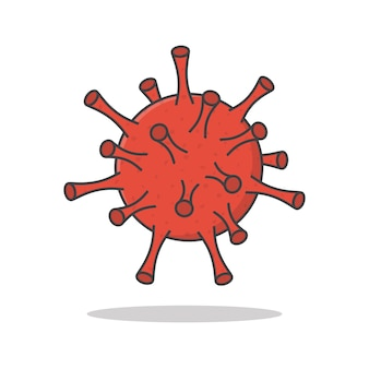 Virus cel vector pictogram illustratie. corona virus plat pictogram. covid-19 Premium Vector