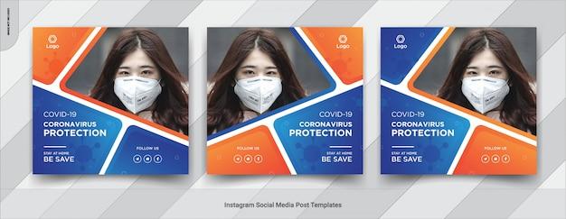 Virus die sociaal media vierkant postmalplaatjeontwerp waarschuwen