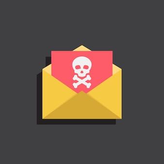 Virus e-mail met schedels, illustratie platte ontwerpstijl