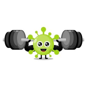 Virus fitness barbell schattig karakter mascotte