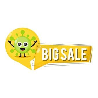 Virus grote verkoop schattig karakter mascotte