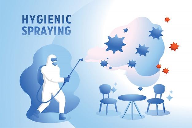 Virus in coffeeshop schoonmaken met hygiënisch spuiten