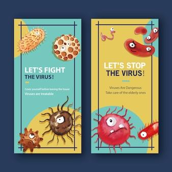 Virus instragram verhaalsjablonen in aquarel stijl