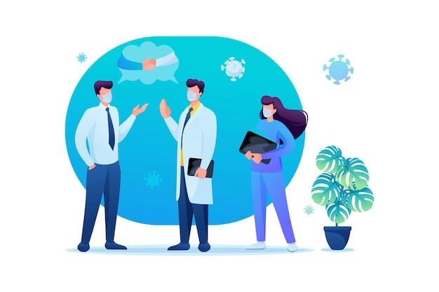 Virus kan worden overgedragen via een handdruk, dus zeg mondeling hallo. houdt sociale afstand en draagt mondkapjes. platte 2d. vector illustratie webdesign.