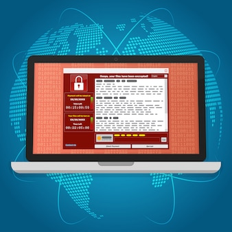 Virus malware ransomware wannacry versleutelde uw bestanden en vereist geld