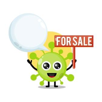 Virus te koop schattig karakter mascotte