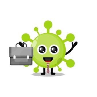 Virus werkt schattig karakter mascotte