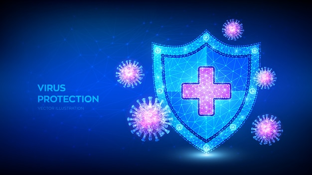 Virusbescherming. laag veelhoekig schild en covid-19-viruscellen. microbiologie en geneeskunde.