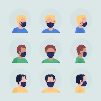 Virusbescherming semi-egale kleur vector karakter avatar met masker set