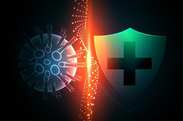 Virusbeschermingsschild dat voorkomt dat het coronavirus de achtergrond binnengaat