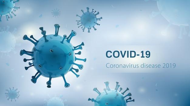 Virusdeeltjes op wit-blauwe achtergrond met covid-19 coronavirus-ziekte 2019