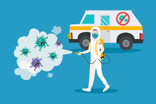 Virusdesinfectie in plat ontwerp