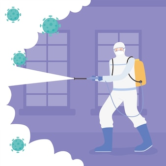 Virusdesinfectie, man in hamzat pak schoonmaken en desinfecteren, covid 19 coronavirus, preventieve maatregel