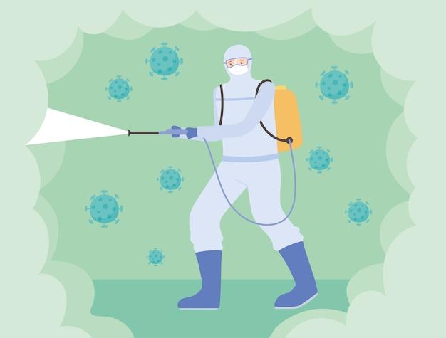 Virusdesinfectie, man met beschermend masker pak schoonmaken, covid 19 coronavirus, preventieve maatregel