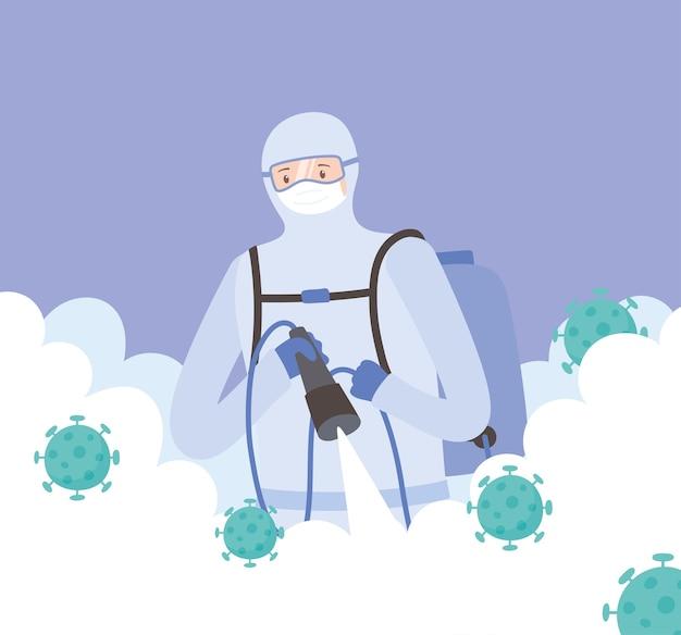 Virusdesinfectie, medisch personeel sproeien desinfectiemiddel, covid 19 coronavirus, preventieve maatregel