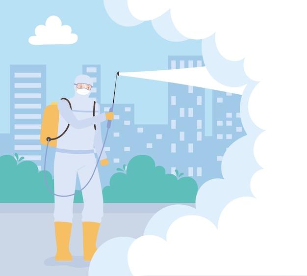 Virusdesinfectie, werknemer in een beschermend pak sproeit schoonmaakproducten en desinfecteert een chemische, coronavirus preventieve maatregel