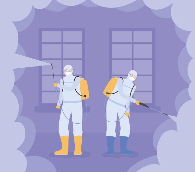 Virusdesinfectie, werknemers met spray voor reiniging en decontaminatie, covid 19 coronavirus, preventieve maatregel