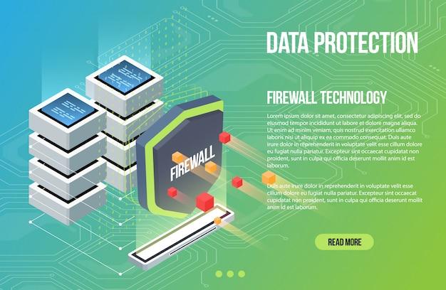Virusscan beveiligings malware. schild bewaker isometrische platte vectorillustratie. cybercriminaliteit en gegevensbescherming. bewaking van database- en servergegevens.