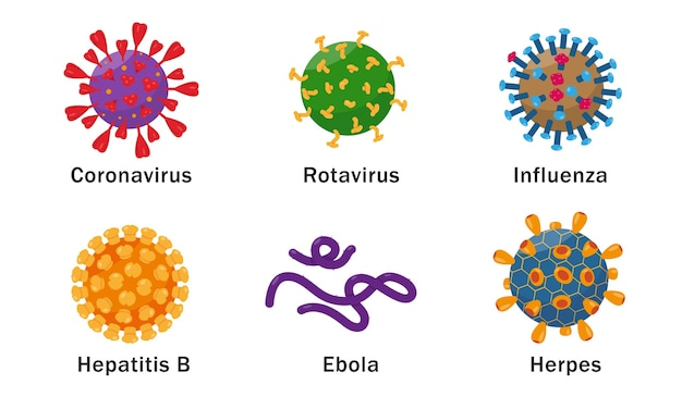 Virussen cellen pictogrammen op witte achtergrond