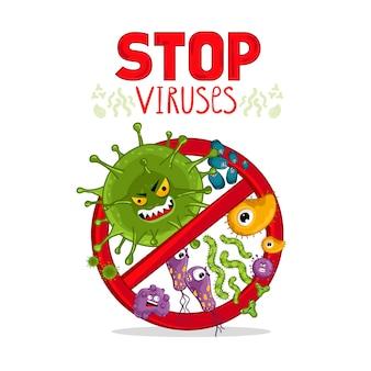 Virussen stripfiguren geïsoleerd