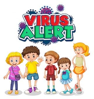 Viruswaarschuwingsbord met kinderen