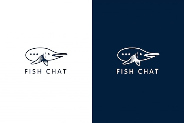 Vis chat logo ontwerpsjabloon. dit merk gebruikt een combinatie van een chat-symbool en een vis heeft een platte blauwe kleur.